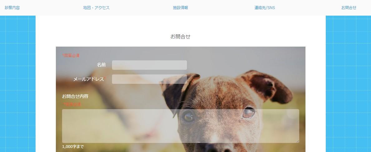 1.立川プラスワン動物病院様のホームページに埋め込まれたお問い合わせフォーム