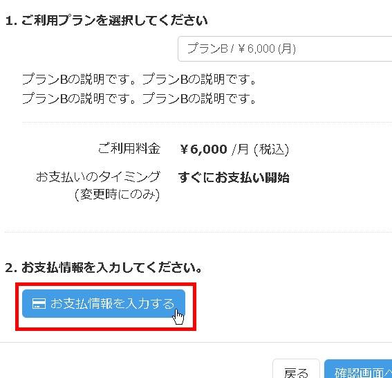 6.「お支払い情報を入力する」ボタンをクリックする